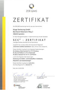 SCC Zertifikat